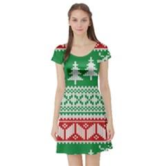 Christmas Jumper Pattern Short Sleeve Skater Dress