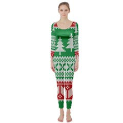 Christmas Jumper Pattern Long Sleeve Catsuit