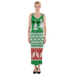 Christmas Jumper Pattern Fitted Maxi Dress