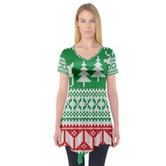 Christmas Jumper Pattern Short Sleeve Tunic