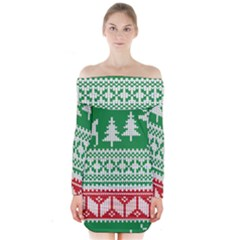 Christmas Jumper Pattern Long Sleeve Off Shoulder Dress