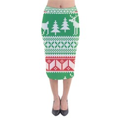 Christmas Jumper Pattern Velvet Midi Pencil Skirt