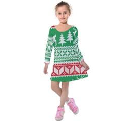 Christmas Jumper Pattern Kids  Long Sleeve Velvet Dress