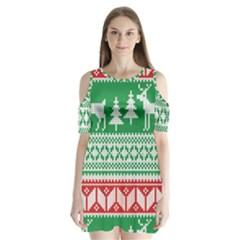 Christmas Jumper Pattern Shoulder Cutout Velvet  One Piece