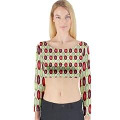 Christmas Pattern Long Sleeve Crop Top