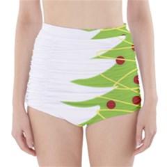 Christmas Tree Christmas High-Waisted Bikini Bottoms