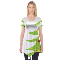 Christmas Tree Christmas Short Sleeve Tunic