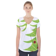 Christmas Tree Christmas Short Sleeve Front Detail Top
