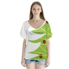 Christmas Tree Christmas Flutter Sleeve Top
