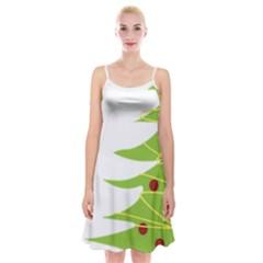 Christmas Tree Christmas Spaghetti Strap Velvet Dress