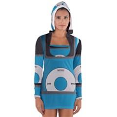Digital Mp3 Musik Player Women s Long Sleeve Hooded T-shirt