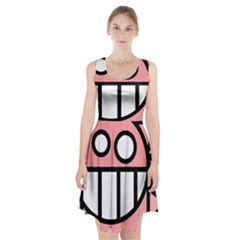 Dragon Head Pink Childish Cartoon Racerback Midi Dress