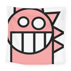 Dragon Head Pink Childish Cartoon Square Tapestry (large)