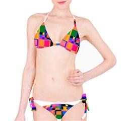 Color Focusing Screen Vault Arched Bikini Set