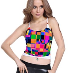 Color Focusing Screen Vault Arched Spaghetti Strap Bra Top