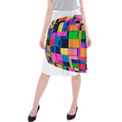Color Focusing Screen Vault Arched Midi Beach Skirt