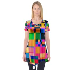 Color Focusing Screen Vault Arched Short Sleeve Tunic