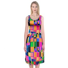 Color Focusing Screen Vault Arched Midi Sleeveless Dress