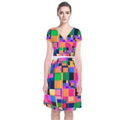 Color Focusing Screen Vault Arched Short Sleeve Front Wrap Dress