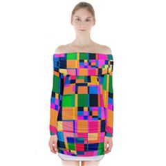 Color Focusing Screen Vault Arched Long Sleeve Off Shoulder Dress