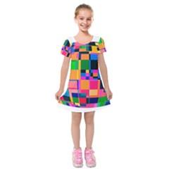 Color Focusing Screen Vault Arched Kids  Short Sleeve Velvet Dress