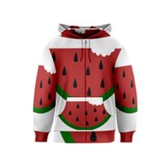 Food Slice Fruit Bitten Watermelon Kids  Zipper Hoodie