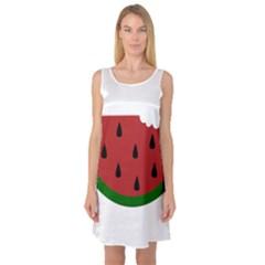 Food Slice Fruit Bitten Watermelon Sleeveless Satin Nightdress