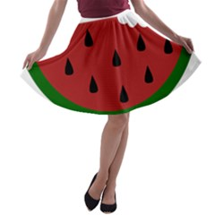 Food Slice Fruit Bitten Watermelon A-line Skater Skirt