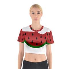 Food Slice Fruit Bitten Watermelon Cotton Crop Top