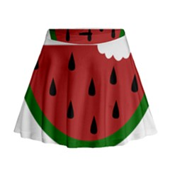 Food Slice Fruit Bitten Watermelon Mini Flare Skirt