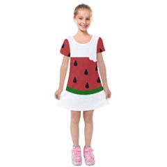 Food Slice Fruit Bitten Watermelon Kids  Short Sleeve Velvet Dress