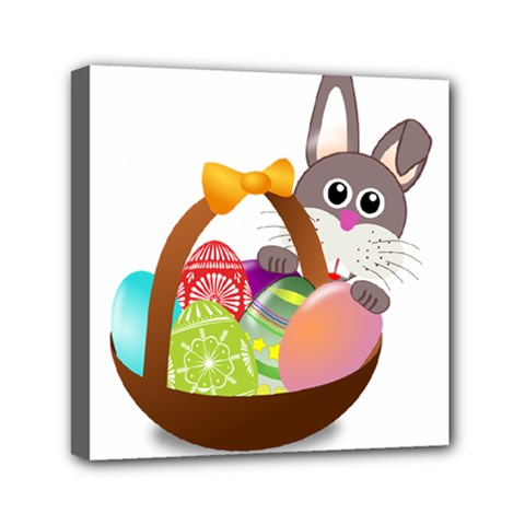 Easter Bunny Eggs Nest Basket Mini Canvas 6  x 6