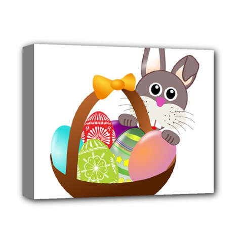 Easter Bunny Eggs Nest Basket Deluxe Canvas 14  x 11