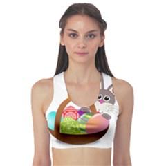 Easter Bunny Eggs Nest Basket Sports Bra
