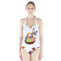 Easter Bunny Eggs Nest Basket Halter Swimsuit