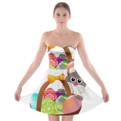 Easter Bunny Eggs Nest Basket Strapless Bra Top Dress