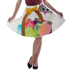Easter Bunny Eggs Nest Basket A-line Skater Skirt