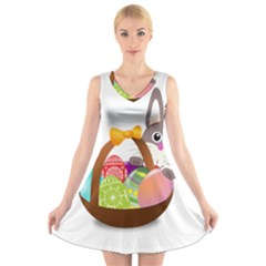 Easter Bunny Eggs Nest Basket V-Neck Sleeveless Skater Dress