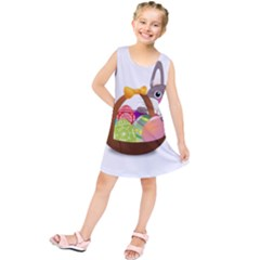 Easter Bunny Eggs Nest Basket Kids  Tunic Dress