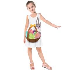 Easter Bunny Eggs Nest Basket Kids  Sleeveless Dress