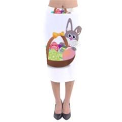 Easter Bunny Eggs Nest Basket Velvet Midi Pencil Skirt