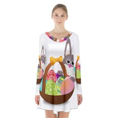 Easter Bunny Eggs Nest Basket Long Sleeve Velvet V Neck Dress