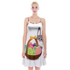 Easter Bunny Eggs Nest Basket Spaghetti Strap Velvet Dress
