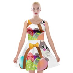 Easter Bunny Eggs Nest Basket Velvet Skater Dress