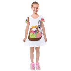 Easter Bunny Eggs Nest Basket Kids  Short Sleeve Velvet Dress
