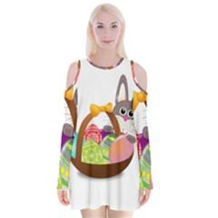 Easter Bunny Eggs Nest Basket Velvet Long Sleeve Shoulder Cutout Dress