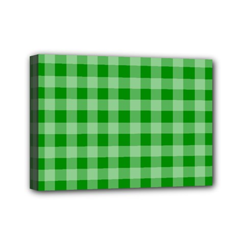 Gingham Background Fabric Texture Mini Canvas 7  x 5