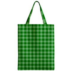 Gingham Background Fabric Texture Zipper Classic Tote Bag
