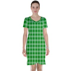 Gingham Background Fabric Texture Short Sleeve Nightdress