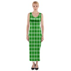 Gingham Background Fabric Texture Fitted Maxi Dress